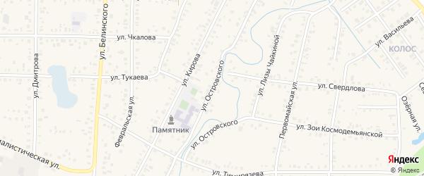 Улица Островского на карте Янаула с номерами домов