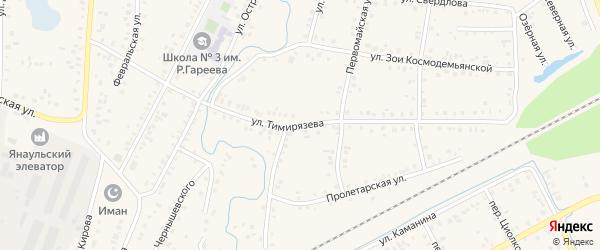 Улица Тимирязева на карте Янаула с номерами домов