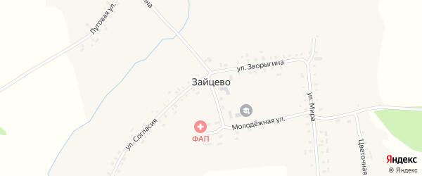 Луговая улица на карте села Зайцево с номерами домов