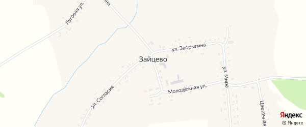 Молодежная улица на карте села Зайцево с номерами домов