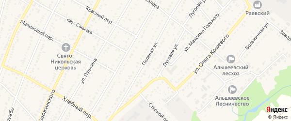 Полевая улица на карте села Раевского с номерами домов