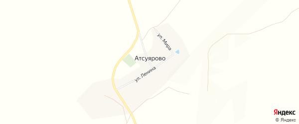 Карта деревни Атсуярово в Башкортостане с улицами и номерами домов
