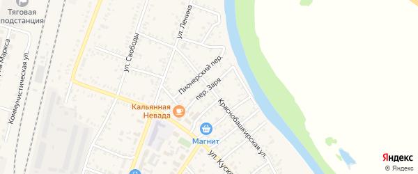 Переулок Заря на карте села Раевского с номерами домов