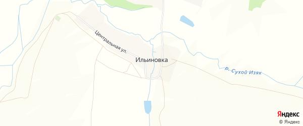 Карта деревни Ильиновки в Башкортостане с улицами и номерами домов