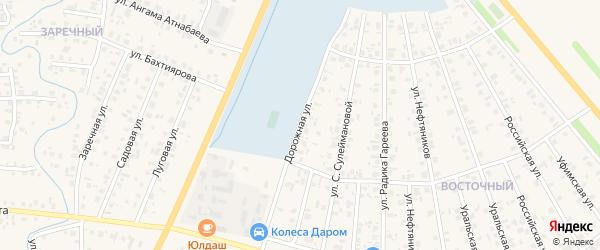 Дорожная улица на карте Янаула с номерами домов
