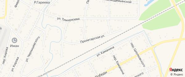 Пролетарская улица на карте Янаула с номерами домов