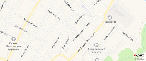 Луговая улица на карте села Раевского с номерами домов