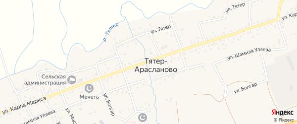 Улица Болгар на карте села Тятер-Арасланово с номерами домов