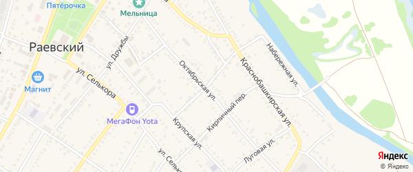 Озерный переулок на карте села Раевского с номерами домов