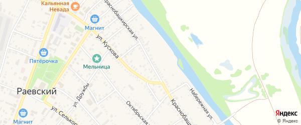 Краснобашкирская улица на карте села Раевского с номерами домов