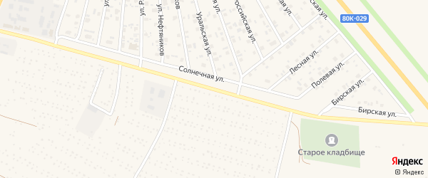 Солнечная улица на карте Янаула с номерами домов