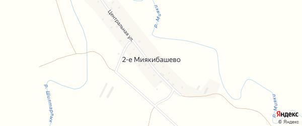 Центральная улица на карте деревни 2-е Миякибашево с номерами домов