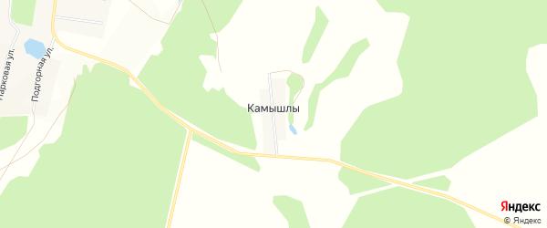 Карта деревни Камышлы в Башкортостане с улицами и номерами домов