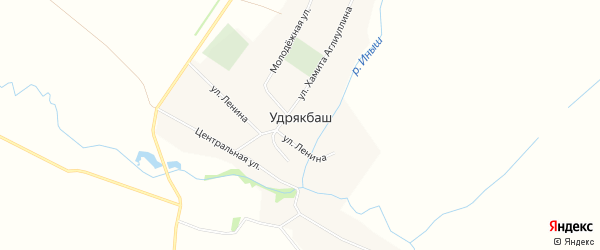 Карта села Удрякбаша в Башкортостане с улицами и номерами домов