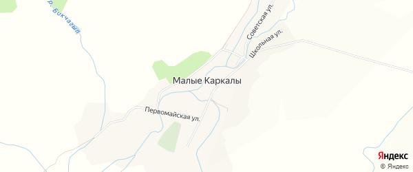 Карта села Малые Каркалы в Башкортостане с улицами и номерами домов