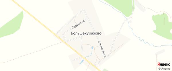 Карта деревни Большекуразово в Башкортостане с улицами и номерами домов