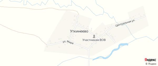 Центральная улица на карте деревни Уткинеево с номерами домов