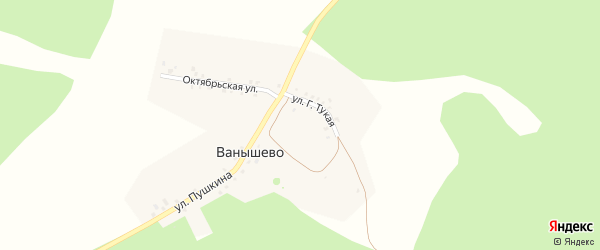 Улица Пушкина на карте деревни Ванышево с номерами домов