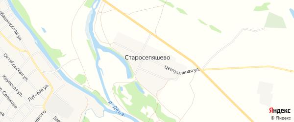 Карта деревни Старосепяшево в Башкортостане с улицами и номерами домов