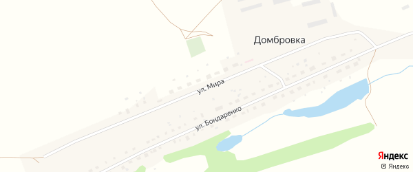 Улица Мира на карте деревни Домбровки с номерами домов