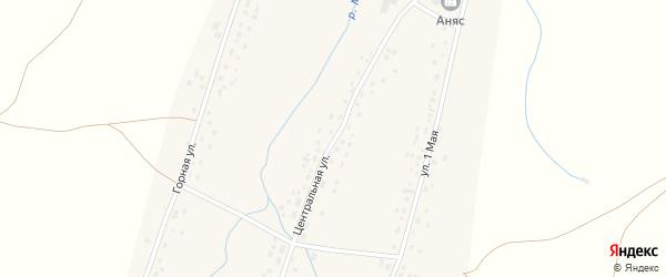 Центральная улица на карте села Анясево с номерами домов