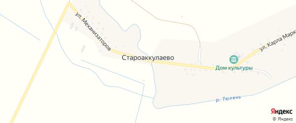 Улица Энгельса на карте деревни Староаккулаево с номерами домов