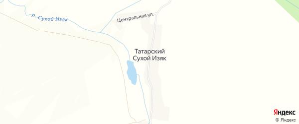 Карта деревни Татарского Сухого Изяка в Башкортостане с улицами и номерами домов