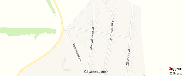 Молодежная улица на карте села Кармышево с номерами домов