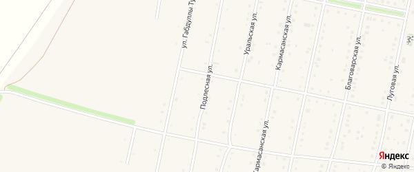 Подлесная улица на карте села Языково с номерами домов