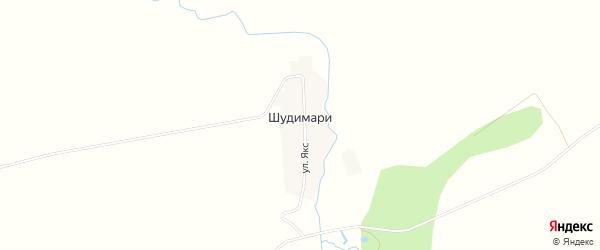 Карта деревни Шудимари в Башкортостане с улицами и номерами домов