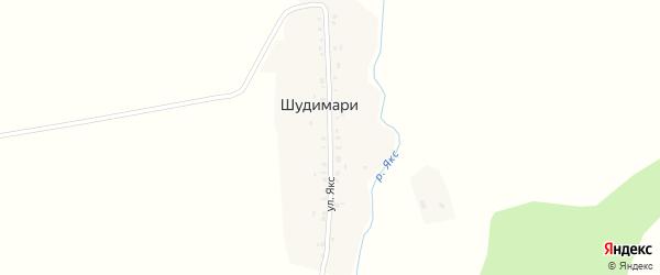 Улица Якс на карте деревни Шудимари с номерами домов