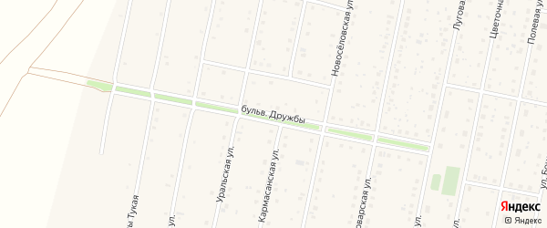 Бульвар Дружбы на карте села Языково с номерами домов