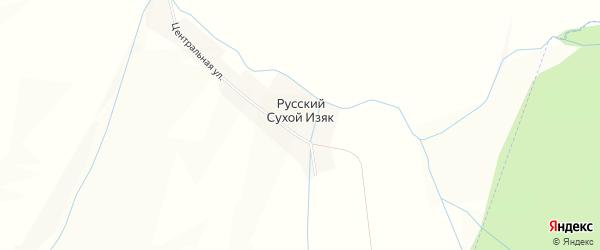 Карта деревни Русского Сухого Изяка в Башкортостане с улицами и номерами домов