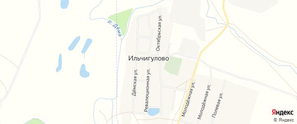 Карта села Ильчигулово в Башкортостане с улицами и номерами домов