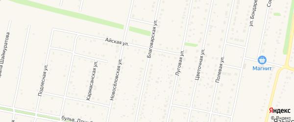Благоварская улица на карте села Языково с номерами домов