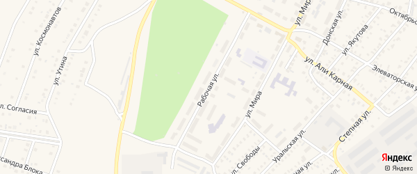 Рабочая улица на карте Давлеканово с номерами домов