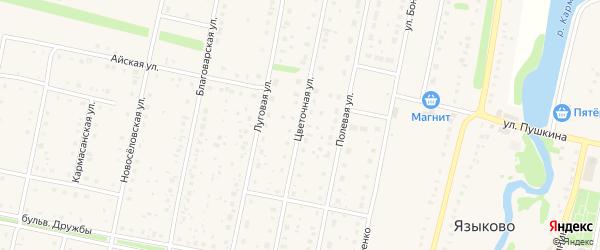 Цветочная улица на карте села Языково с номерами домов