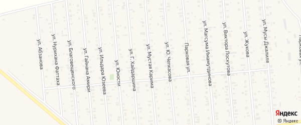 Улица Мустая Карима на карте Янаула с номерами домов