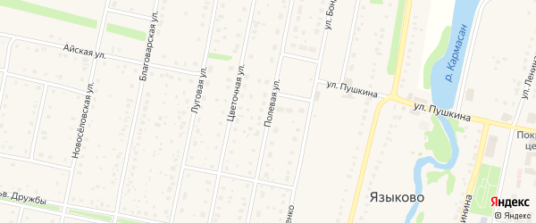 Полевая улица на карте села Языково с номерами домов