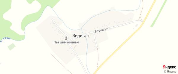 Речная улица на карте деревни Зидигана с номерами домов