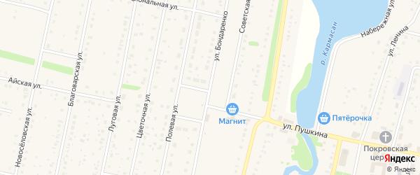 Улица Бондаренко на карте села Языково с номерами домов