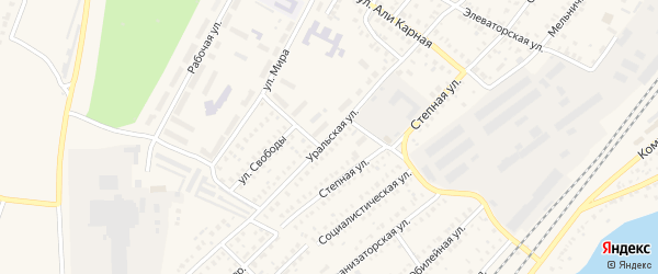 Уральская улица на карте Давлеканово с номерами домов