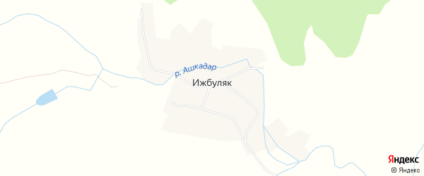 Карта села Ижбуляка в Башкортостане с улицами и номерами домов