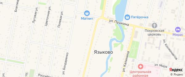 Октябрьская улица на карте села Языково с номерами домов
