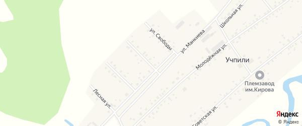 Улица Дружбы народов на карте села Учпили с номерами домов