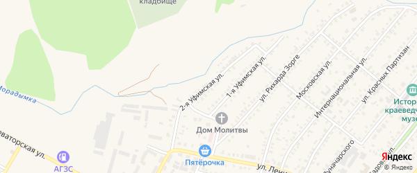 Вторая Уфимская улица на карте Давлеканово с номерами домов
