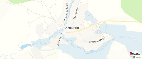 Карта села Алешкино в Башкортостане с улицами и номерами домов