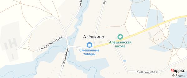 Большая улица на карте села Алешкино с номерами домов