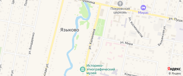 Улица Калинина на карте села Языково с номерами домов