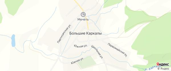 Карта села Большие Каркалы в Башкортостане с улицами и номерами домов